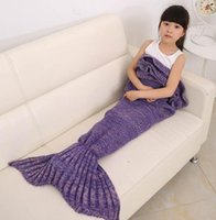 Wholesale Kids Knitted Mermaid Blankets Handmade Mermaid Tail Blankets Mermaid Tail Sleeping Bag Knit Sofa Nap Blankets Costume Cocoon