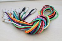 Wholesale 100pcs mm Braided Woven Male to Male MM Audio AUX Cable Stereo Auxiliary Cord For Iphone Car for iphone s For Phone MP3