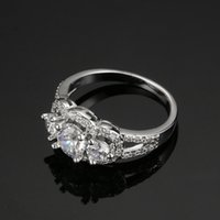 Wholesale Three Stone CZ Diamond Sterling Silver Engagement Rings Fashion Style stone Cubic Zirconia Rings Jewelry