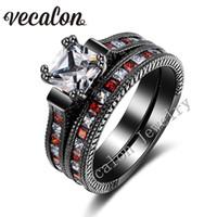 antique garnet ring gold - Vecalon Antique Wedding Band Ring Set for Women Red Garnet Simulated diamond Cz KT Black Gold Filled Female Engagement ring