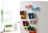 Wholesale New Arrival Creative Wall Hanger Shoe Holder Hook Shelf Rack Storage Organizer Space Saving Sticker Included