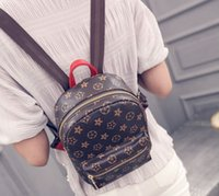 Wholesale New Fashion Leather Backpack Star Printing Pattern Female Male Backpacks Women MenNew Small Bags Designer Shoulders Bag