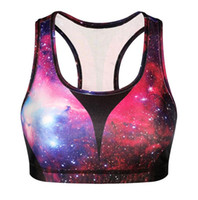 animal exercises - Galaxy Print Yoga Bras Sports Vest Shockproof Professional Exercise Fitness Wear Printed Clothing Tops Underwear Running Bras