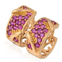 antique ruby earrings - Vintage Earrings Antique k Gold Filled Hie Hoop Earrings For Women Red Cubic Zirconia Ruby Earrings