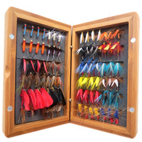 Hook bamboo fly box - vintage wet and dry fly fishing lures and one bamboo fly box