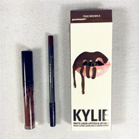 Wholesale Newest KYLIE JENNER LIP KIT Kylie Lip liner pencil Velvetine Liquid Matte Lipstick in Red Velvet Makeup Lip Gloss Make Up DHL Free