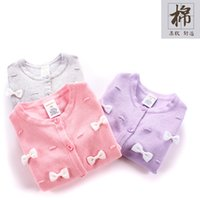 Wholesale 2016 kids clothing kids clothes autumn new Children bow cotton cardigan sweater of the girls