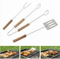 Wholesale BBQ Tools Shovel Fork Clip Barbecue Grill The wooden handle is not hot durable