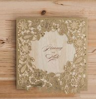 Wholesale Gold flower Log color inner laser cut wedding invitations cards hollow personalized Free print Engagement invitation card with envelope
