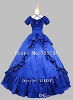 al por mayor vestidos del victorian venta-Vestido de bola de estilo victoriano elegante arco Lolita de la venta caliente azul satinado largo Guerra Civil meridional de la belleza de vestir de estilo victoriano