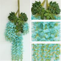 Wholesale Romantic Artificial Flowers Simulation Wisteria Vine Wedding Decorations cm Long Silk Plant Bouquet Room Office Garden Bridal Accessories