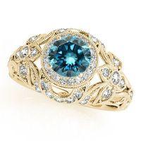 antique yellow diamond engagement ring - 1 Ct Blue Diamond Antique Style Halo Engagement Ring Stunning k Yellow Gold
