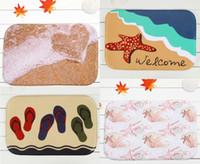 beach bath rugs - 40 cm Sandy beach Series Bath Mats Anti Slip Rugs Coral Fleece Carpet For For Bathroom Bedroom Doormat Online