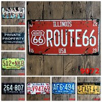 Wholesale 2pcs Vintage Metal Tin License Car Plates Home Decoration Picture Metal Painting House Coffee Bar Iron Painting