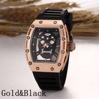 skeleton watches - Luxury brand Fashion Skeleton Watches men Skull sport quartz watch