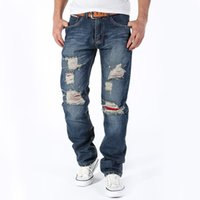 Wholesale Men crosshatch denim jeans Brand New Men s jeans straight ripped jeans hole Slim Men long pants Fashion Relaxed jeans men