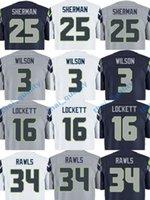 Wholesale Seahawks Elite Footballl Jerseys Stitched Russell Wilson Fan Tyler Lockett Richard Sherman White Navy Colors Jersey