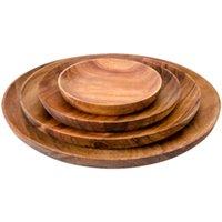 acacia wood plates - Kitchen Dining Bar Tableware Dishes Creative Japan and Korea Style Fruit Salad Singles Handpainted Acacia Wood Square Round Plates