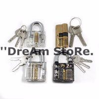 Wholesale One Set includes locksmith tools section pin lock new practice brass lock padlock lock Transparent practice brass lock
