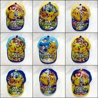 Wholesale Kids Poke Hats Cute Cartoon Pikachu Baseball Caps Children Costume Pocket Monster Hats Hip Hop Caps