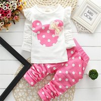 Wholesale 2016 Fashion baby clothing New Kids Clothes Baby Girl Long Sleeve T Shirts Polka Dot Pants Cotton Minnie Children Clothing Suits Clothes