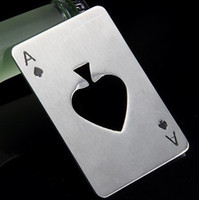 Wholesale Creative Poker Card Beer Bottle Opener Personalized Funny Stainless Steel Credit Card Bottle Opener Card of Spades Bar Tool H029