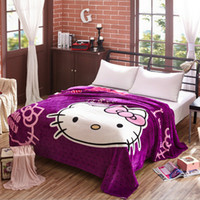 air condition supplies - Purple Princess Cartoon Air conditioning Spring Blanket Gift Throws on Bed Sofa Plane Travel Fleece Flannel Blankets Girls Bed Supplies