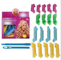 magic set - 18pcs set DIY Magic Leverag Hair Curlers Rollers Hair Styling Rollers Curlers Leverag perm hooks Tools with retail box
