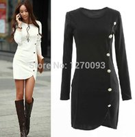 Wholesale 2016 Spring Autumn Warm Dress Women Cotton Bottomed Winter Dress Ladies Evening Clothes Party gown Long Sleeve Button Casual Women Dress