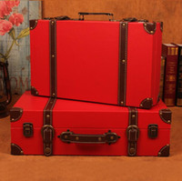 Wholesale Vintage suitcase Receive a box wood Retro red marriage cases Coffee shop window props