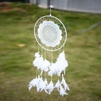 Wholesale Home Dream Catcher Net With Feather Lace Flowers Hanging Decor Ornament DIY Wedding Birthday Christmas Decorations