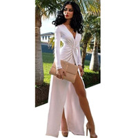 beautiful turkish women - Hot Sale Beautiful Turkish Evening Dresses White V Neck Sexy Women Formal Prom Gown High Front Split Chiffon Evening Dress Long Sleeve