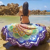 Wholesale Indian Decor Mandala Tapestry Boho polyester New Desinger Beach Throw with Tassel Yoga Mat Wall Hanging Large Shawls cm BKT099