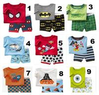 Cheap Boy girl kids short pajama set baby superman pajamas batman sleepwear kids short clothes set kids short kids pajamas