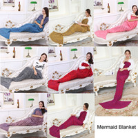 Wholesale 2016 Hot Crochet Mermaid Tail Blanket cm cm colors Blanket Bed Sleeping Costume Mermaid Air condition Knit Blanket