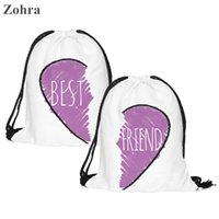 best gym bag men - 3D printing Best friends Women mochila escolar man Gym bags Travel drawstring bag backpack Classic forever piece Zohra brand