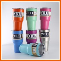 Wholesale YETI CUPS OZ RAMBLER COOLERS TUMBLER TRAVEL BILAYER VACCUM INSULATED BEER MUG CUP WITH COLORS