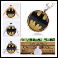 batman rubies - New Fashion Superheroes batman LOGO time ruby pendant necklace sweater chain alloy glass necklace B0372