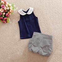 Wholesale 2016 Girl Summer Sets Lace Collar Chiffon Shirts Black White Shorts Fashion Sets Children Clothing T T62