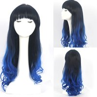 Wholesale 22inch Cheap synthetic multi color Ombre wig cosplay for costume party long curly wig with bang for women