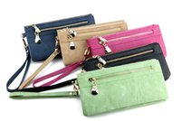 Wholesale Fashion Women Wallets Dull Polish Leather Wallet Double Zipper Clutches Bag Purse Colors Free Ship by DHL