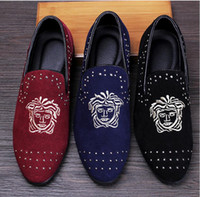 Cheap Promotion New 2016 spring Men Velvet Loafers Party wedding Shoes Europe Style Embroidered Blue Red Velvet Slippers Driving moccasins NXX318