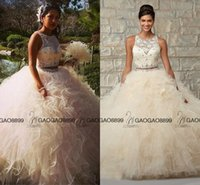 Wholesale Lace Ruffle Scarf - 2 Piece Quinceanera Dress Ball Gowns Off Shoulder Coral Beige Tulle Lace Quinceanera Dresses 15 Years With Scarf See Through