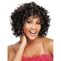 afro brazil - Western Black Women Short Curly Hair Brazil Afro Glueless Deep Wigs shoulder length wig Champagne Gold Black Hairpiece