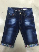 Wholesale Front zipper blue jeans boys pants pocket after the cloth embroidery complex characteristics of small print decorative embroidery add Pants