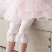 beautiful bow ties - 2016 Children Girls Summer Lace Bow Tie Hundred Percent Cotton Leggings New Arrival Best Designed Beautiful Material High Quality Pretty
