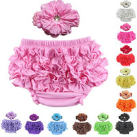 baby underwear with ruffles - Baby Satin Ruffle Bloomers Pant Nappy Cover With Headband Infant Lace PP Pants Toddler Kids Ruffled Cotton Underwear Bloomers Color C5