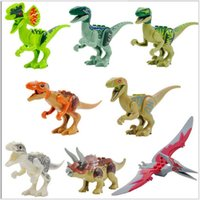 Wholesale 8pcs Jurassic World Park Minifigures Dinosaur Bricks Mini Figures Building Blocks Super Heroes baby toys Compatible with Lego