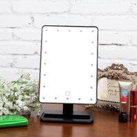 Wholesale 20 LED Touch Screen Degree Free Rotation Tabletop LED Lighted Makeup Cosmetic Vanity Mirror