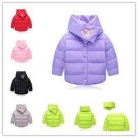 Wholesale 2016 New Kids Down Coat pc sets scarf coat Children cute printing winter down jacket warm outwear for girls boys
